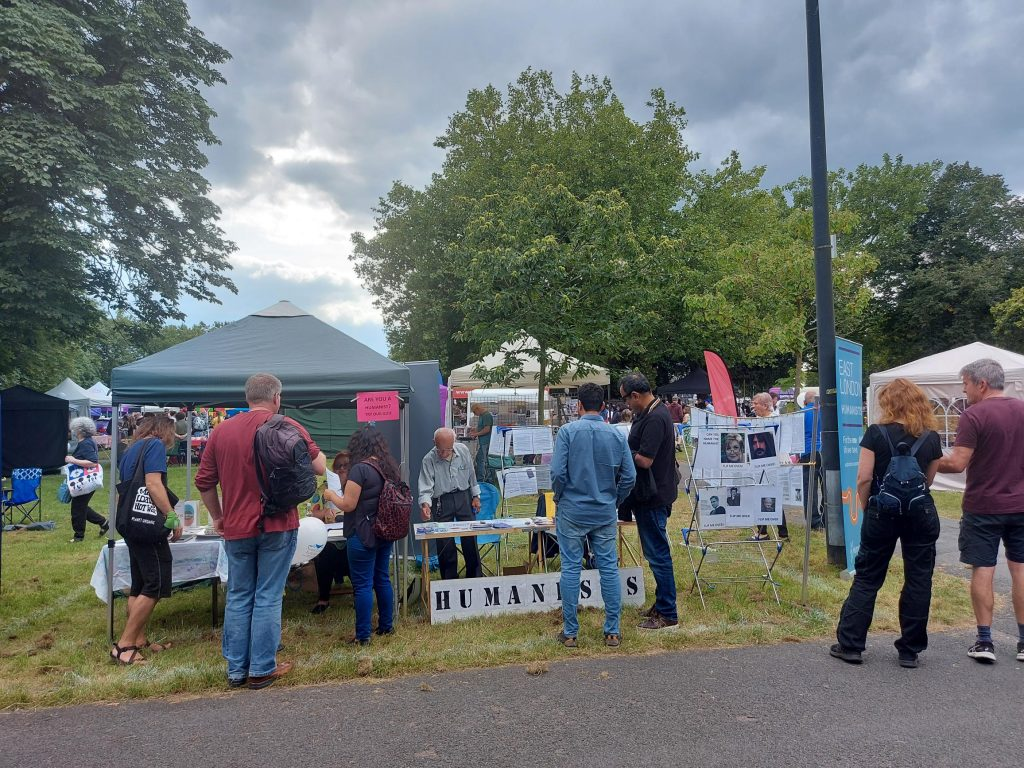 The 'Are you a Humanist?' quiz and 'Guess the Humanist' display attracted many to the stall.